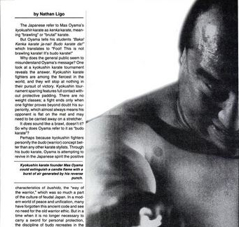 A Black Belt Magazine Article about Mas Oyama on Budo Karate West